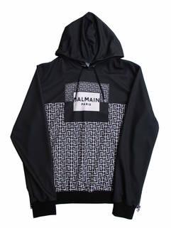 バルマン(BALMAIN) メンズ トップス パーカー フーディー ロゴ モノグラムロゴ/BALMAINロゴプリント・サイドジップ付パーカー ブラック VH0JT000 G053 EDK (R165000)