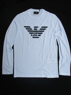 エンポリオアルマーニ(EMPORIO ARMANI) メンズ トップス ロンT 長袖 ロゴ 2color フロントGAロゴ・イーグルロゴ付ロングTシャツ 白/黒 8N1T64 1JNQZ 0100/0999
