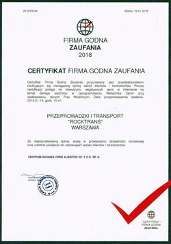 Certyfikat Firma Godna Zaufania 2018
