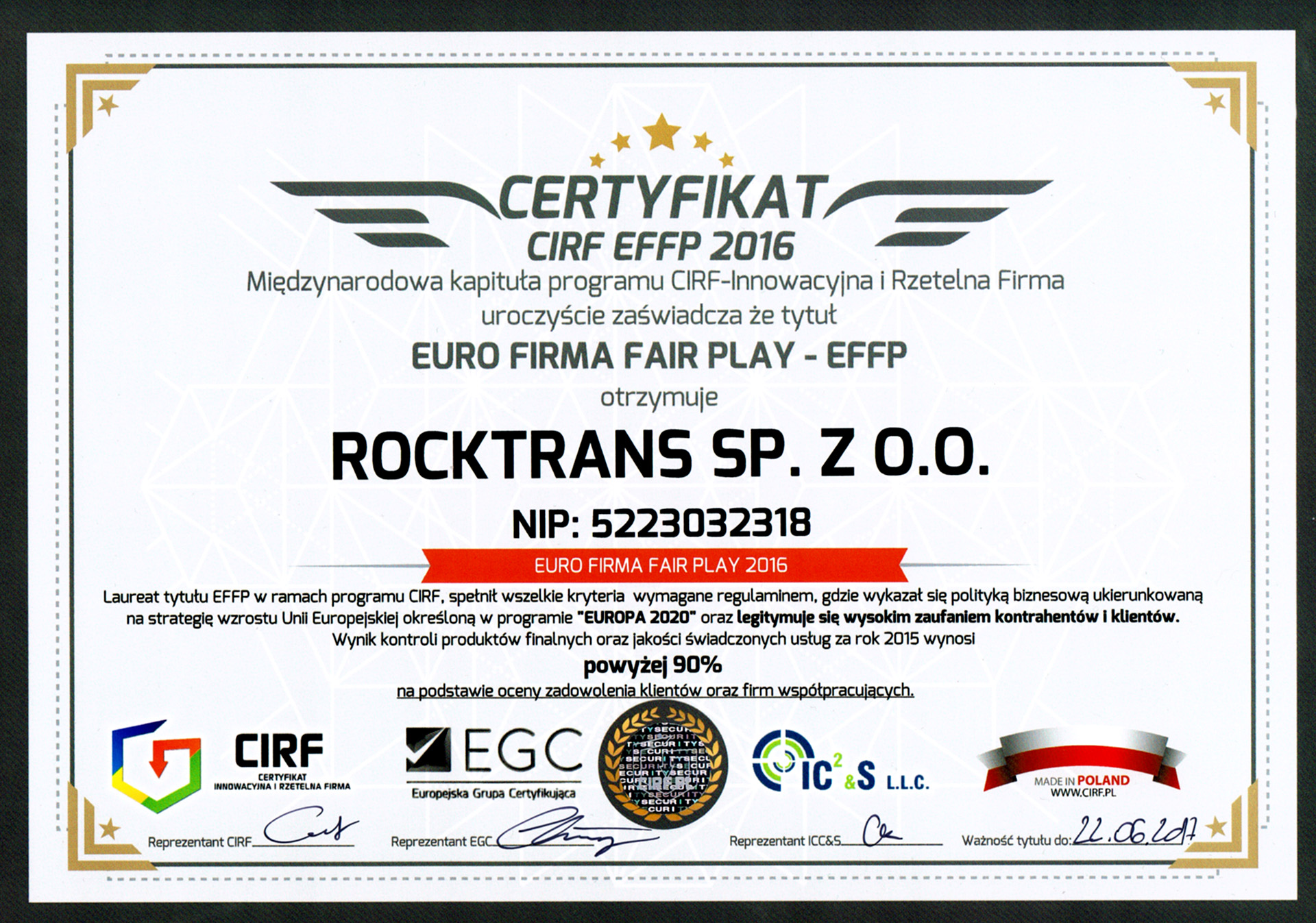 Certyfikat CIRF EFFP 2016