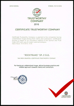 Certificate Trustworthy Company 2016