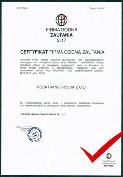 Certyfikat Firma Godna Zaufania 2017