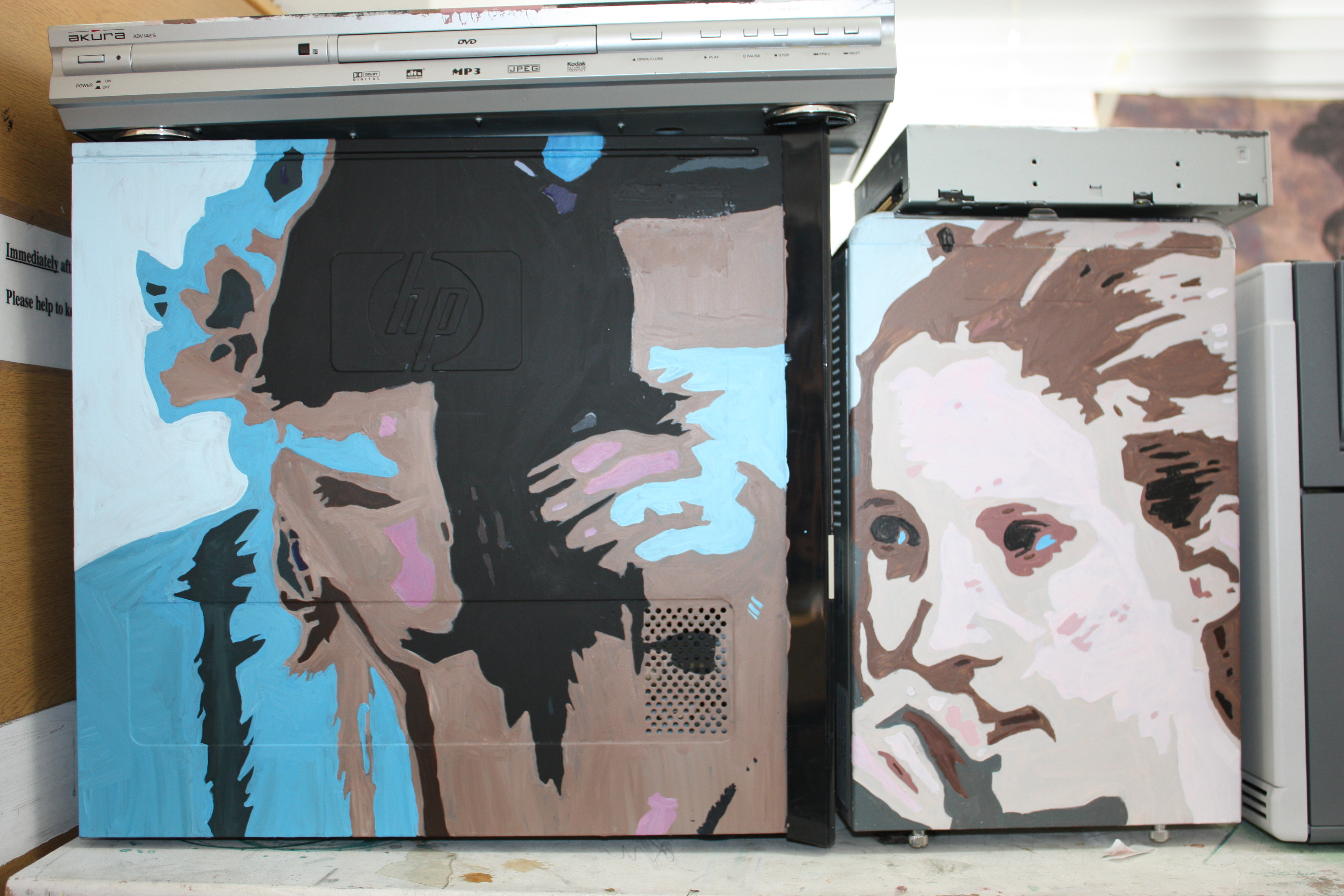 Portraits (2010) - Acrylic Paint on Computer Equiptment
