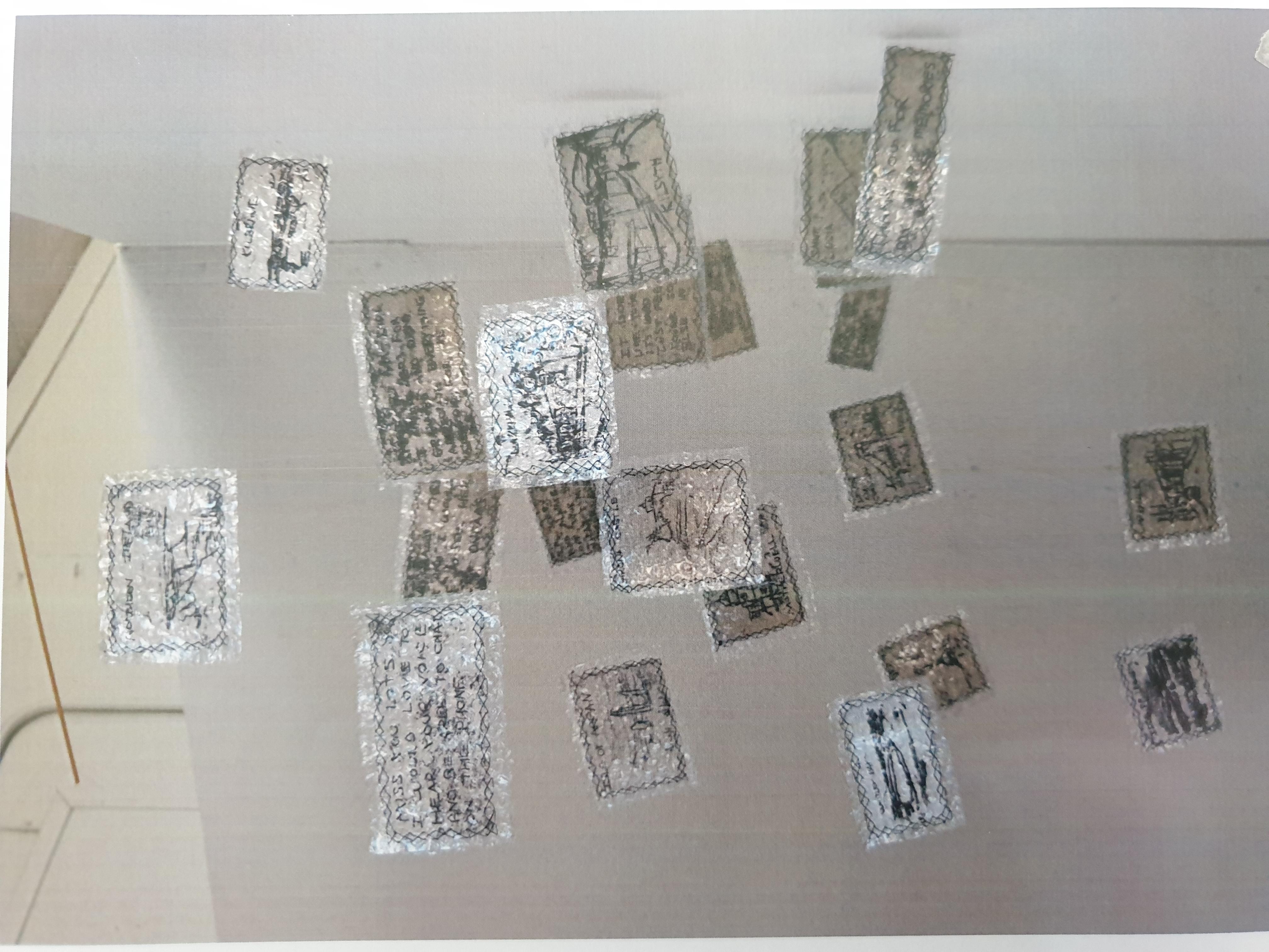 Monoprint, fabric, paper, bubblewrap, stitching