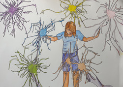 Mental Health Self Portrait (2020) - Watercolour and pen by Janine Moffat