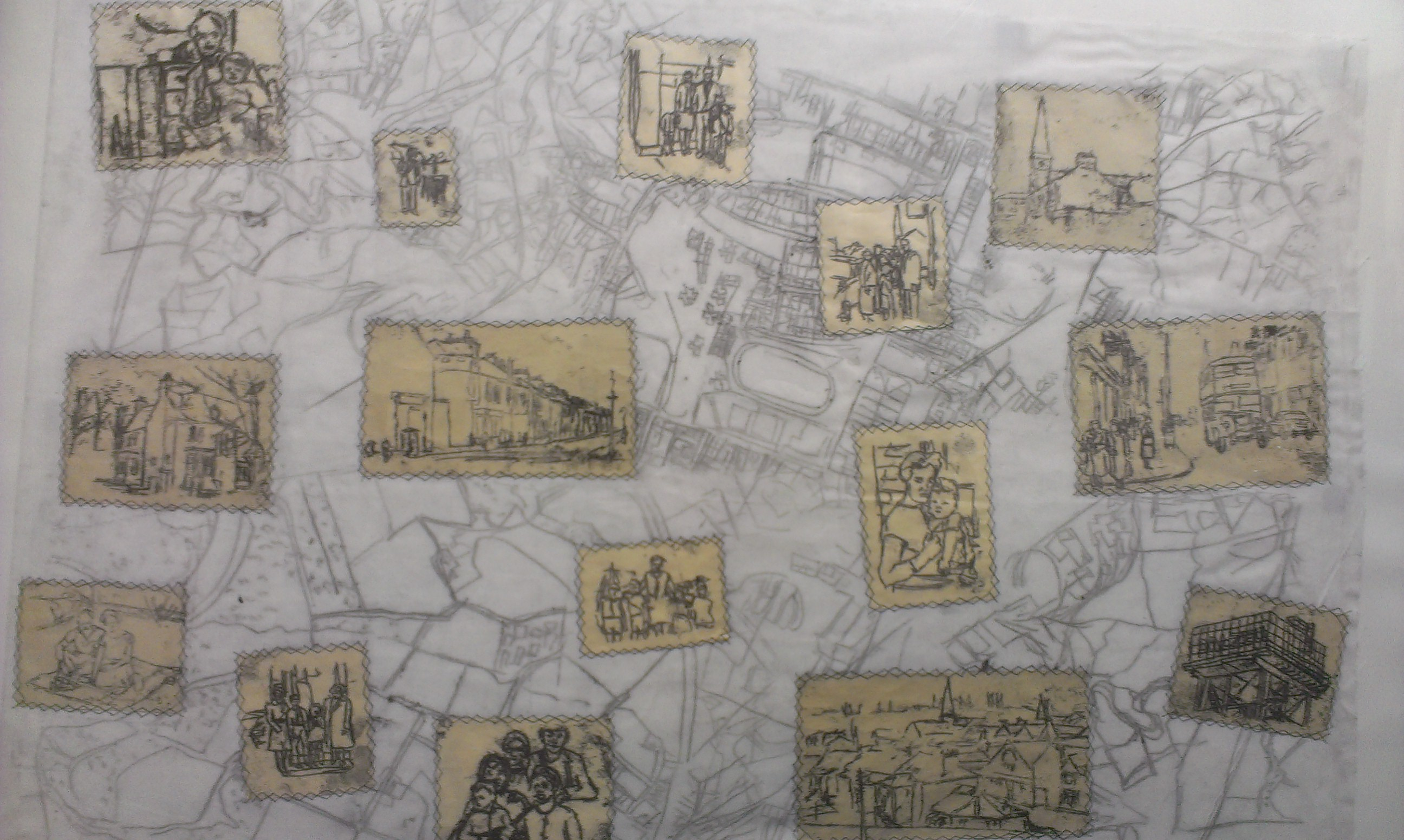 Family Map (2012) - Monoprint and Stitching onto Fabric