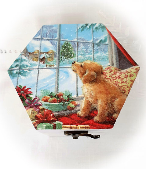 Christmas Decoupage Decorated Hexagon Gift Box Jewellery Box Storage Box