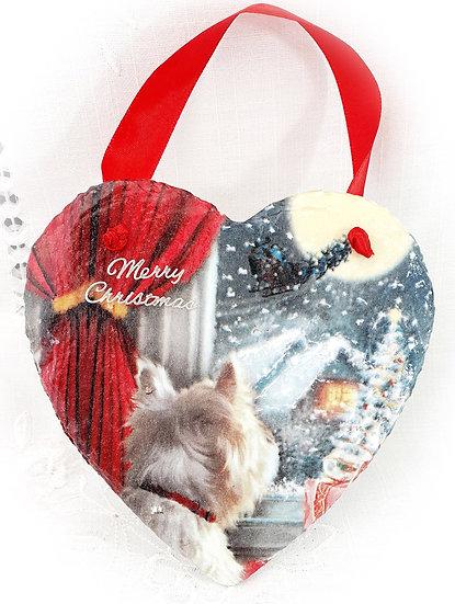 Decoupage Decorated Heart, Slate Westie Christmas Heart Wall Decoration