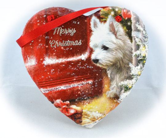 Decoupage Decorated Heart, Slate Westie Christmas Heart Wall Decoration, Hanging