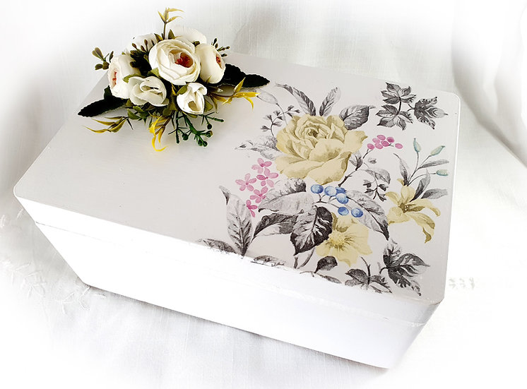 Decorated Decoupage Sewing Box, Jewellery Box, Storage Box, Wood Keepsake Box