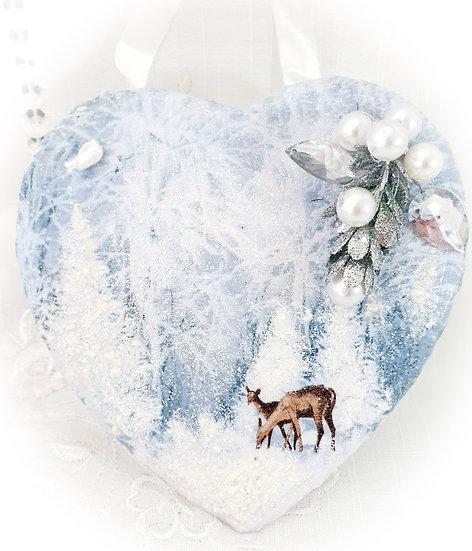 Christmas Slate Heart Decoration, Wall Hanging Decoration