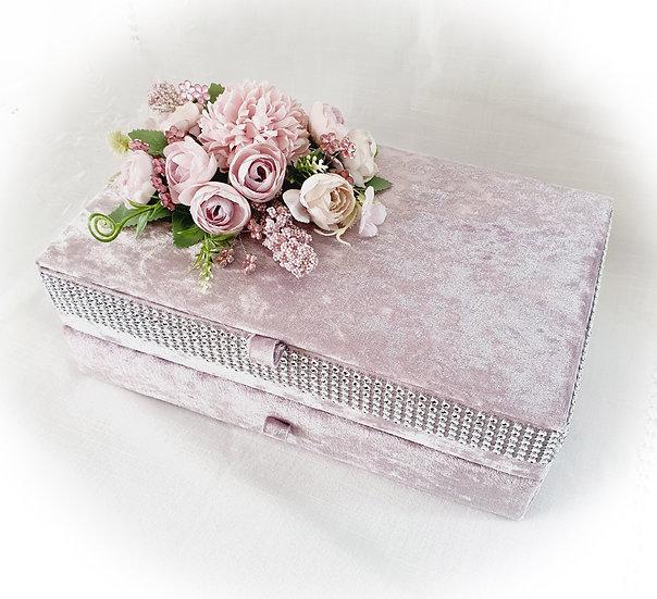 Blush Pink Velvet Jewellery Box, Storage box, Keepsake Box