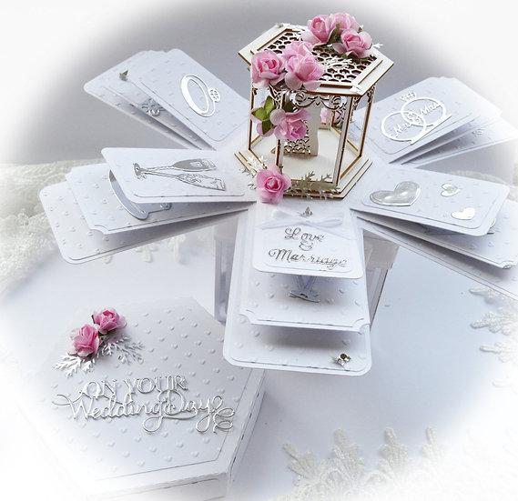 Hexagon Explosion Box, Exploding Box, Handmade Wedding Anniversary Card ,3d Card