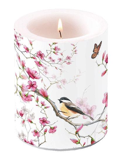 Decorative candle Large - Bird & Blossom White