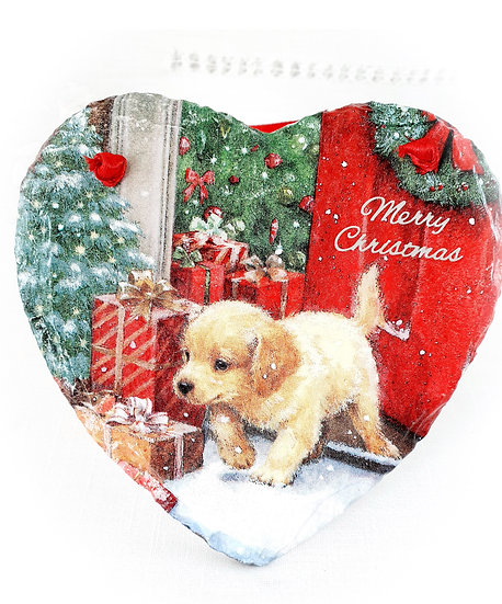 Decorated Decoupage Christmas Puppy Slate Heart