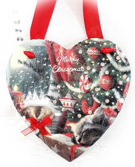 Decorated Decoupage Christmas Cat Slate Heart
