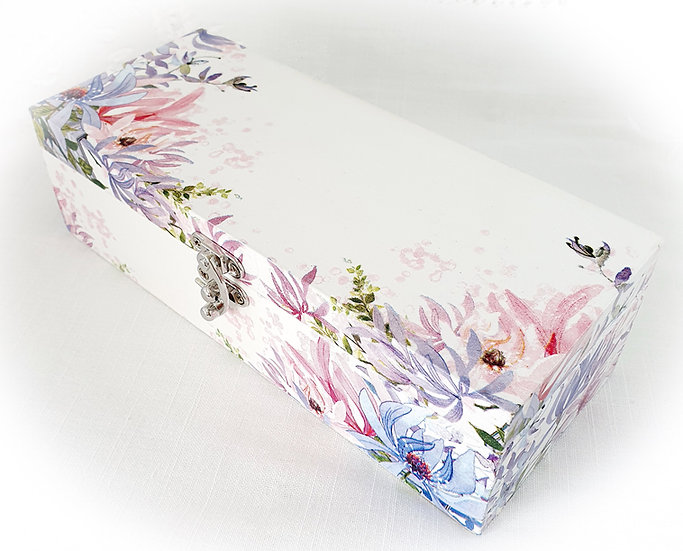 Decorated Decoupage Wood Tea Box Storage Box