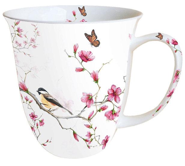 Porcelain Cup - Bird & Blossom White