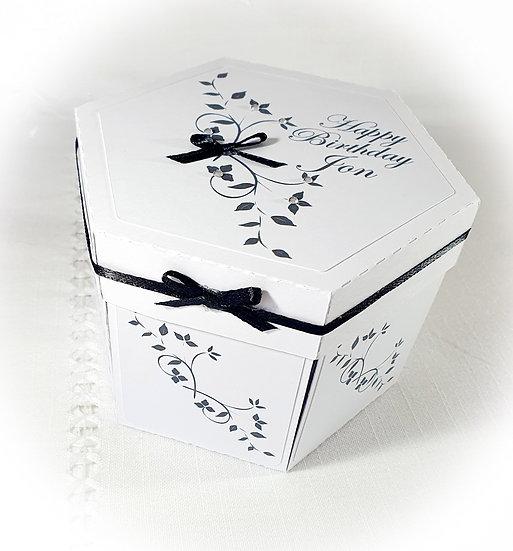 Hexagon Explosion Box, Handmade Birthday Wedding Anniversary Birthday Card