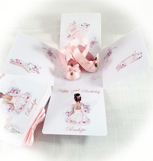 Girl Explosion Box Ballerina Card 1st 2nd 3rd 4th 5th Birthday Card