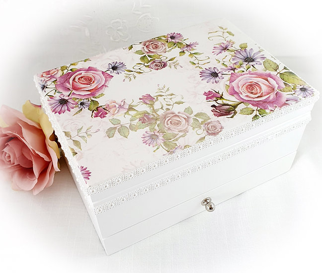 Decoupage Jewellery Box, Shabby Chic White Decorated Jewellery Box With Mirror a