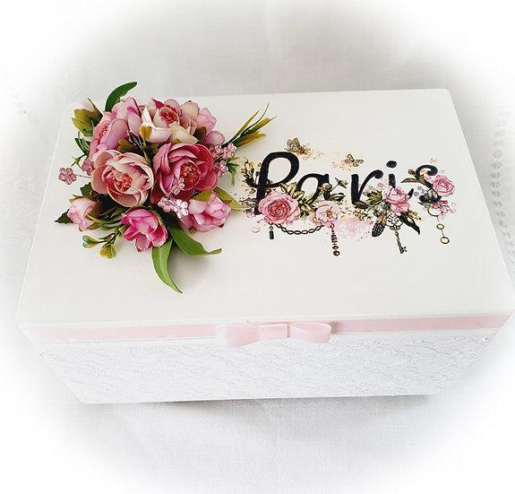 Decoupage Decorated Wood Box,Storage Box,Make Up Box,Keepsake Box,Shabby Chic Bo