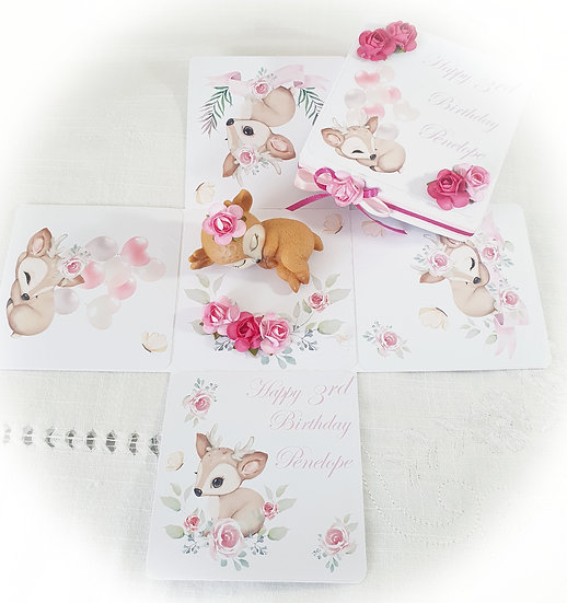 Girl Explosion Birthday Card, Baby Deer Card
