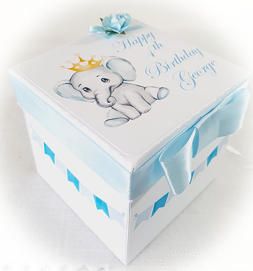 Boy Explosion Box Birthday Card, Baby Elephant Birthday Card