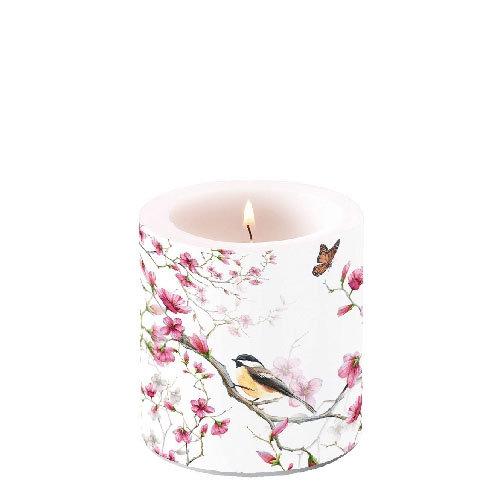 Decorative candle small - Bird & Blossom White