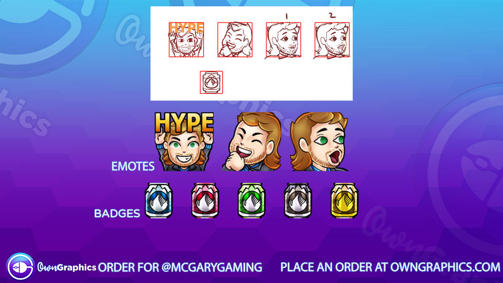 Custom emote order for Twitch streamer McGaryGaming