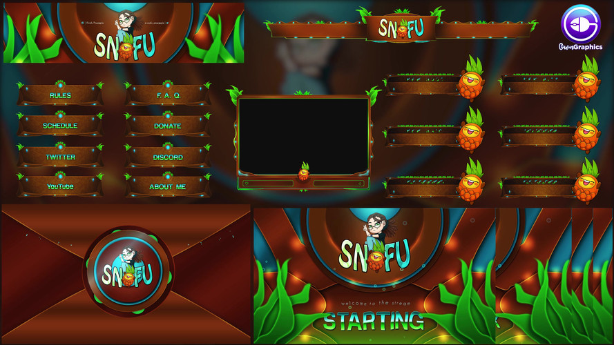 Custom Stream Branding by OwnGraphics for Twitch streamer SnafuPineapple