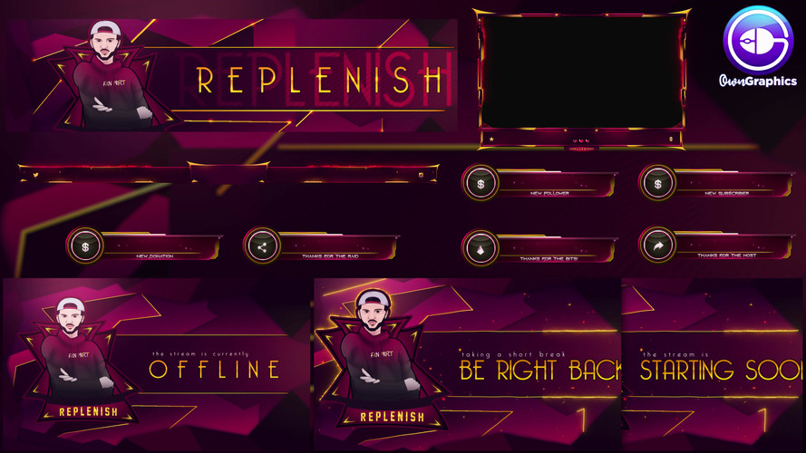 Custom stream branding by OwnGraphics for streamer ReplenishNoOne
