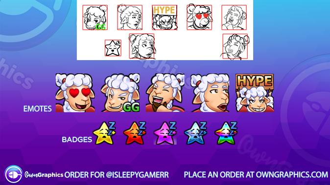 Custom emotes created for isleepyygamerr