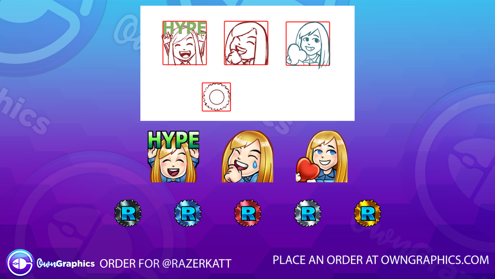 Custom emote and badge order for Twitch streamer RazerKatt