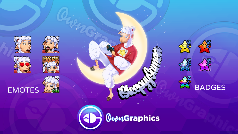 Custom logo, emotes and badges for isleepygamerr.png