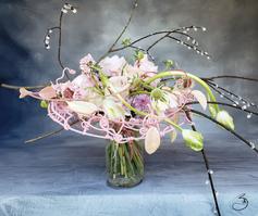Bouquet lié spirale rose