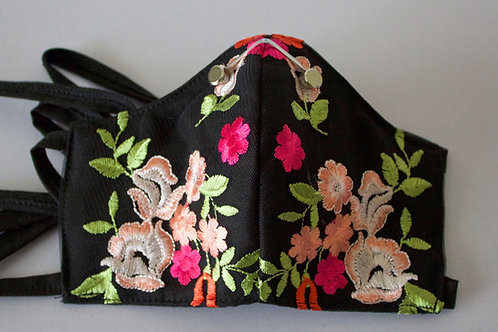 Black Flower Embroidered Mask with Filter Pocket and Metal Nose Wire