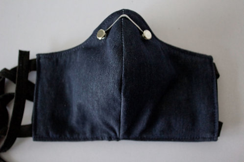 Denim Mask with Filter Pocket and Metal Nose Wire
