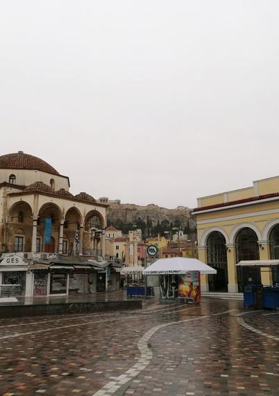 Monastiraki square by wintertime