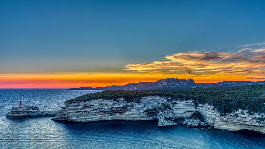 Sunset in Bonifacio South of Corsica, Fr