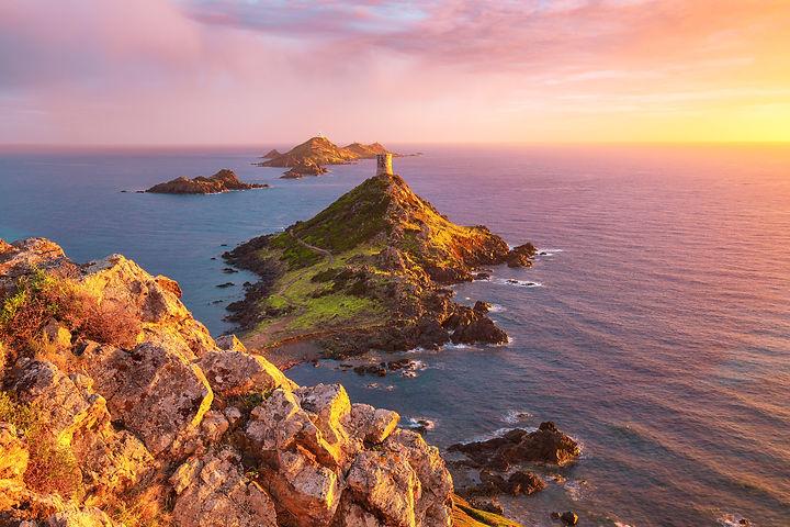 Sunset over popular tourist destination