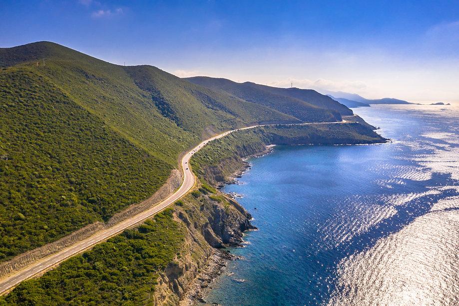 Aerial view of road along Corsica coastl