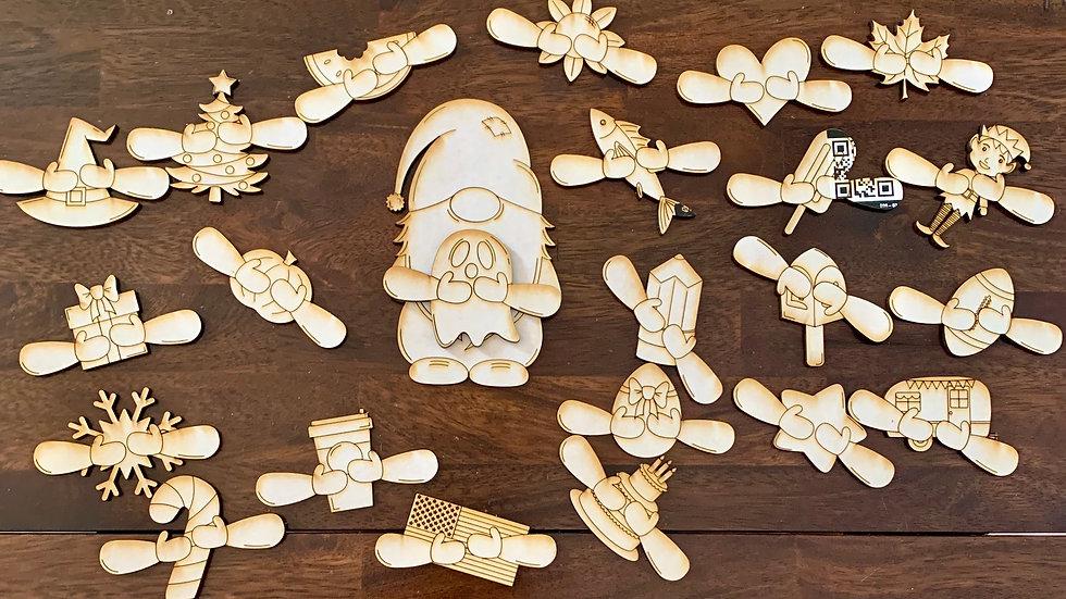 Laser cut small gnome set