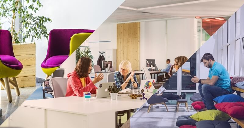 The tight-knit coworking community talking at a flexible office at Campus X, Sofia