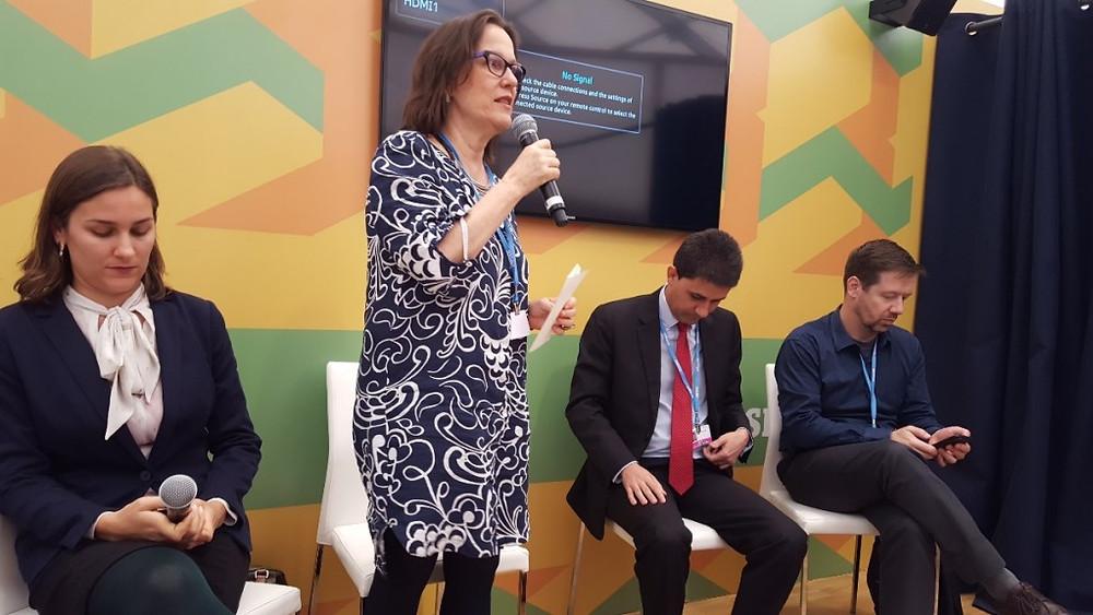 Branca Americano, coordenadora do Portfólio de Política Climática no Clima e Sociedade, fala durante painel na COP 22