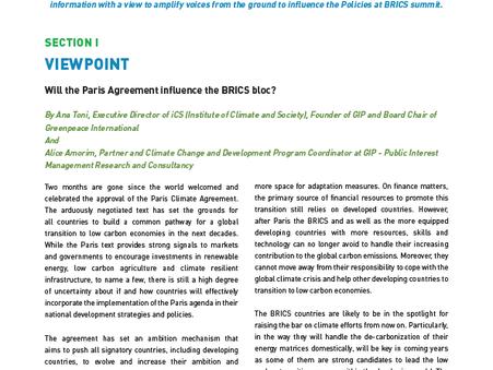 O Acordo de Paris irá influenciar o bloco dos BRICS?