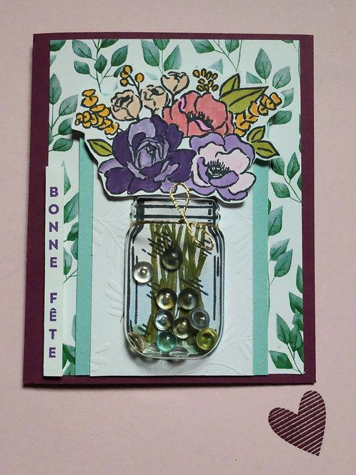 Carte pot de fleurs 3D
