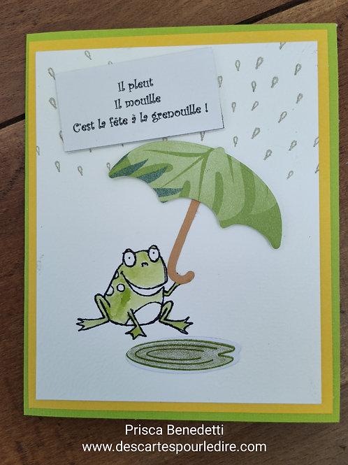 Carte grenouille au parapluie
