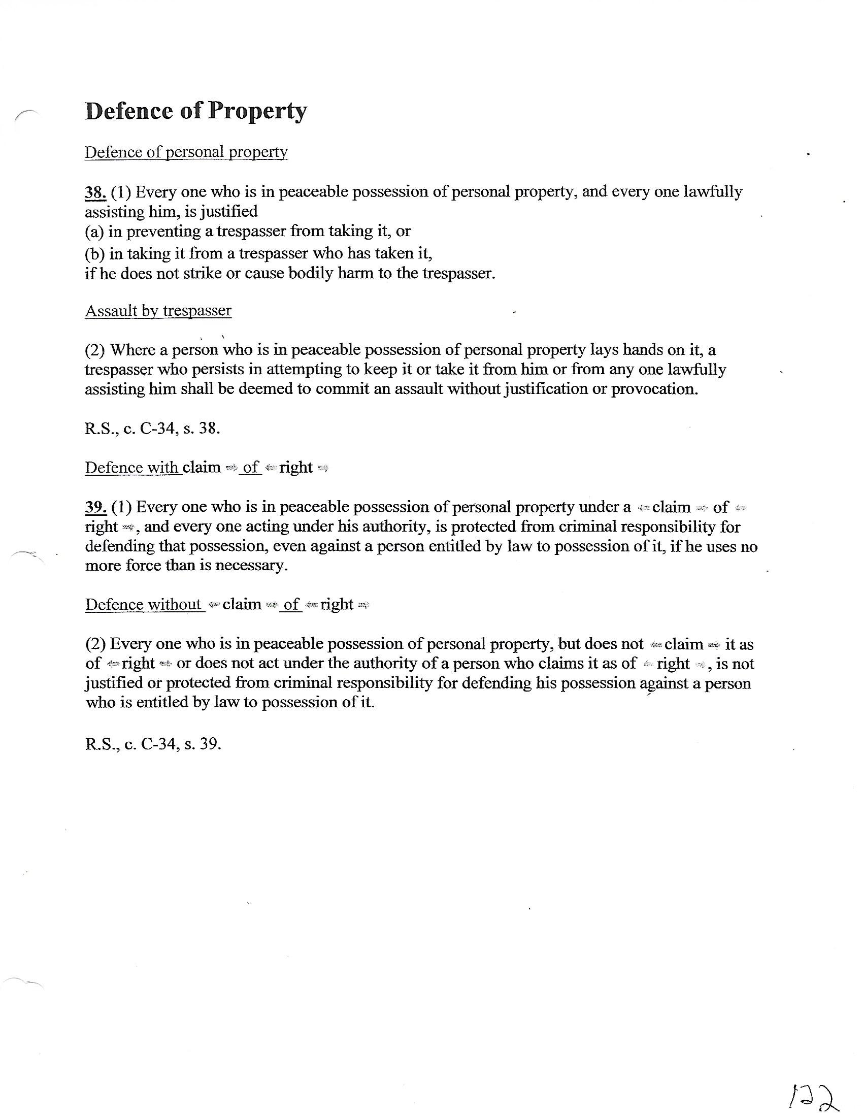 Defense Property Claim of Right Criminal