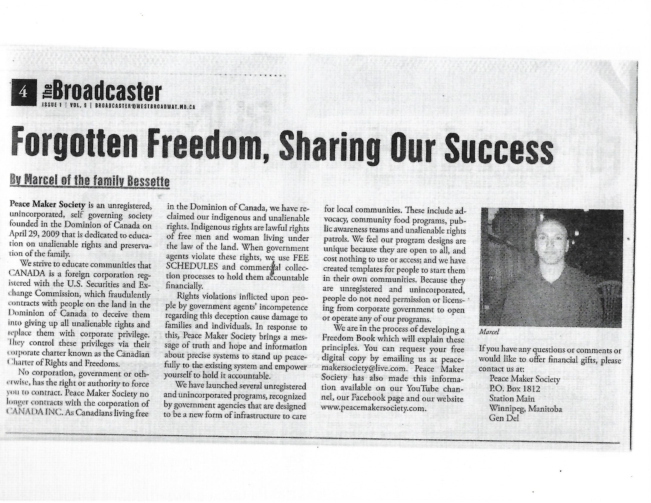 Article-Forgotten Freedom, Sharing Our S